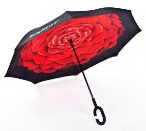 מטריה הפוכה-פרחים באדום