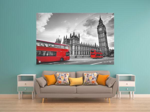 לונדון שחור לבן אדום זכוכית יחיד