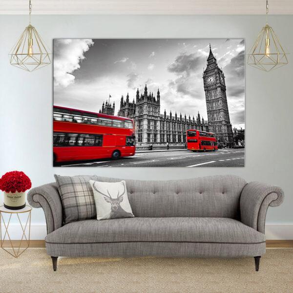 לונדון שחור לבן אדום קנבס יחיד