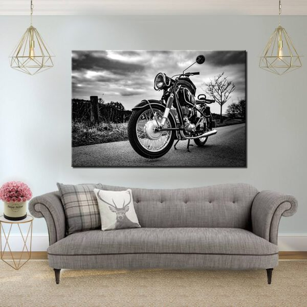 אופנוע שחור לבן קנבס יחיד