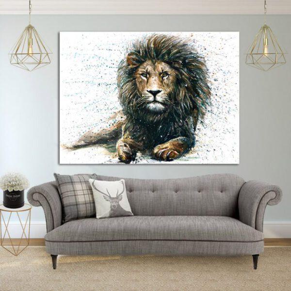 אריה עוצמתי קנבס יחיד
