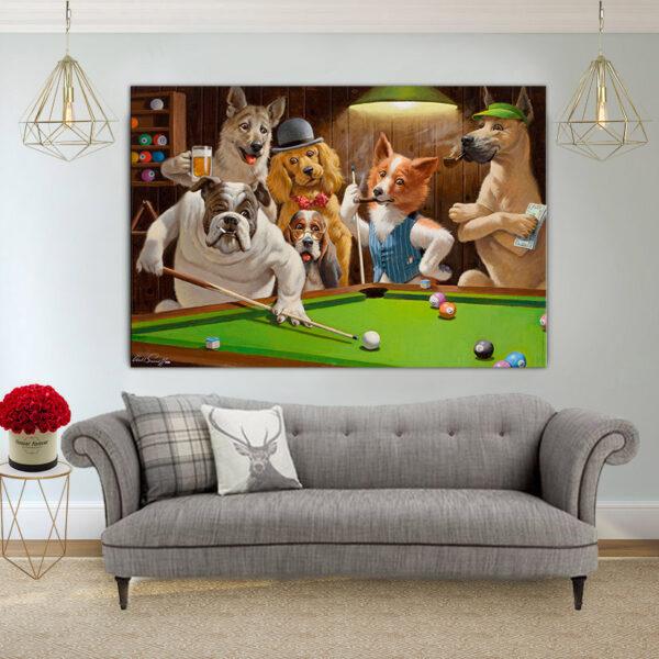 כלבים משחקים פול קנבס יחיד
