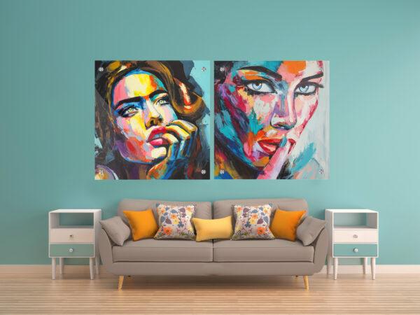 נשים צבעוניות זכוכית זוג