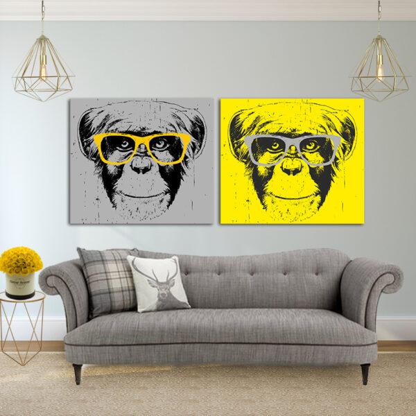 קופים מגניבים קנבס זוג